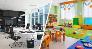 In the picture on the left: a clean, modern office space. In the picture on the right: a tidy kindergarten